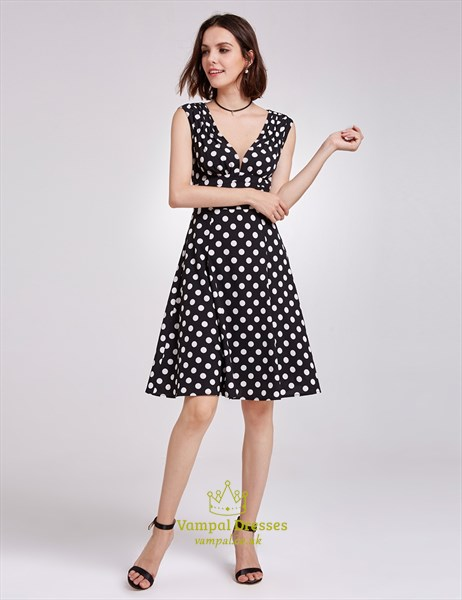 Black And White Polka Dot Cap Sleeve V-Neck A-Line Knee Length Dress