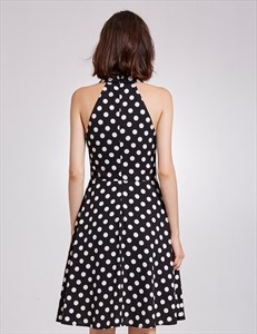 Sleeveless Black And White Polka Dot Knee Length V-Neck A-Line Dress