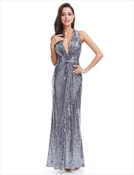 Plunge V Neck Sleeveless Floor Length Sequin Prom Gown
