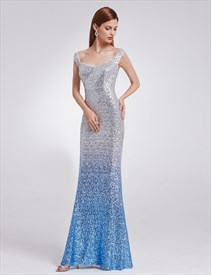 Elegant V Neck Floor Length Sequin Sheath Mermaid Prom Dress