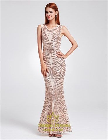 Elegant Sleeveless Sequin Embellished Mermaid Floor Length Prom Dress