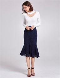Elegant White And Navy Blue Tea Length Mermaid Dress With Long Sleeves