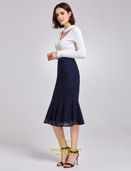 Elegant White And Navy Blue Tea Length Mermaid Dress With Long Sleeves