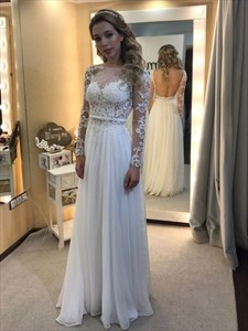 White Illusion Lace Long Sleeves Wedding Dresses With Lace Bodice