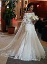 Off The Shoulder Long Sleeve Mermaid Wedding Dress With Lace Bodice
