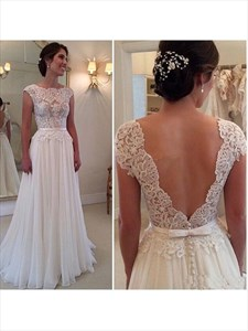 A-Line Lace Bodice Chiffon Floor Length Wedding Dress With Cap Sleeve