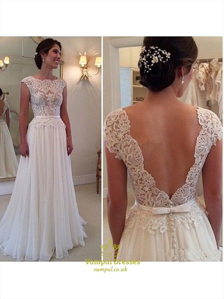 A-Line Lace Bodice Chiffon Floor Length Wedding Dress With Cap Sleeve