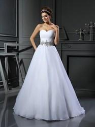 Elegant White Strapless Sweetheart A-Line Floor Length Wedding Dress