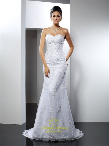 Strapless Sweetheart Long Mermaid Wedding Dress With Lace Embellished