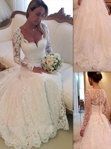 Illusion A-Line Lace Chapel Train Wedding Dress With Long Sleeves