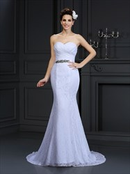 Floor Length Strapless Lace Mermaid Wedding Dress With Ruched Bodice