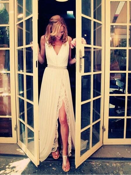 Sleeveless V-Neck Beaded Waist Chiffon Beach Wedding Dress With Split