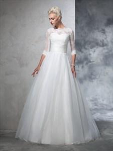 Half Sleeve Illusion Lace Bodice A-Line Floor Length Wedding Dress