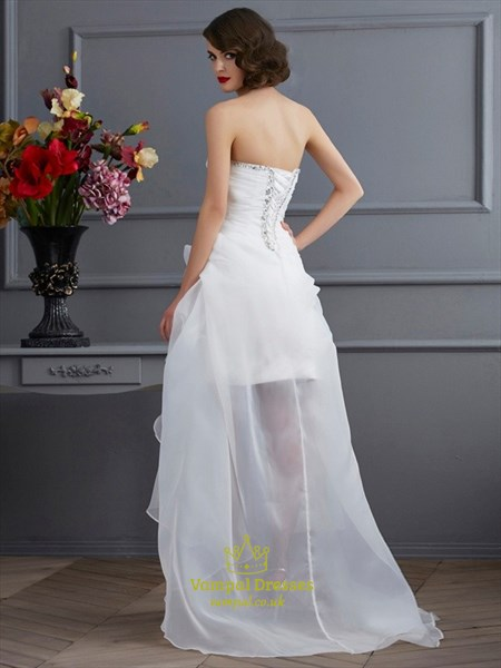 Short Strapless Sweetheart High Low Ruffled Wedding Dress With Train