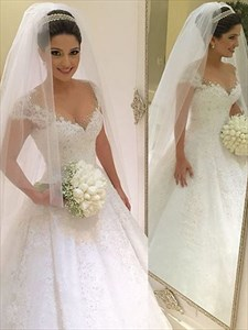Illusion Cap Sleeve Lace & Jewel Embellished Ball Gown Wedding Dress