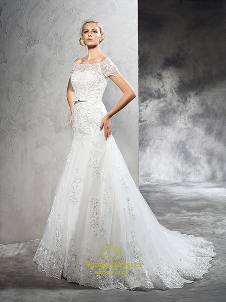 Off The Shoulder Short Sleeve Mermaid Long Wedding Dress With Sequins