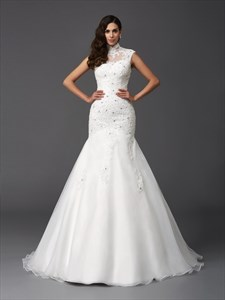 High-Neck Cap Sleeve Mermaid Ball Gown Wedding Dress With Lace Bodice
