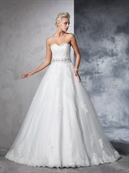 A-Line Floor Length Strapless Lace Embellished Ball Gown Wedding Dress