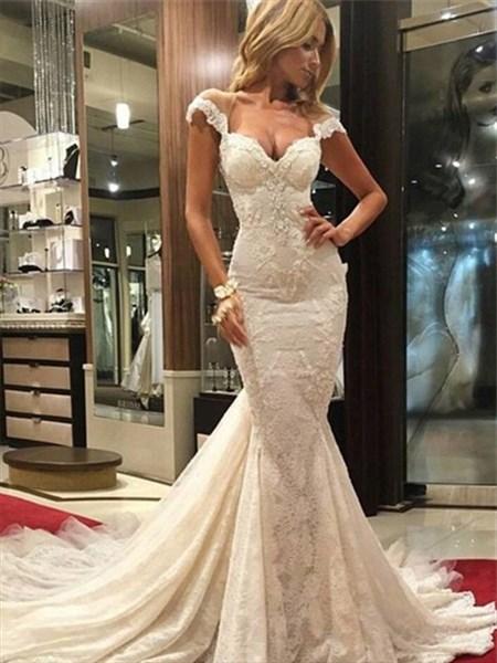 Illusion Cap Sleeve Sweetheart Lace Mermaid Wedding Dress With Train
