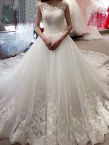 Elegant Cap Sleeve Lace Embellished Cathedral Train Wedding Dress