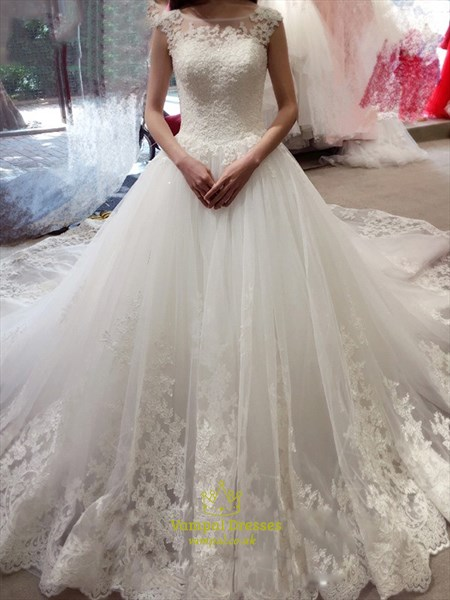 Elegant Cap Sleeve Lace Embellished Cathedral Train Wedding Dress