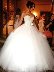 Strapless Sweetheart Tulle Ball Gown Wedding Dress With Sequin Bodice
