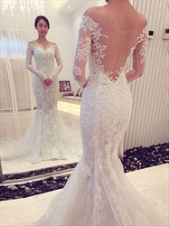 Off The Shoulder Lave Applique Mermaid Wedding Dress With Long Sleeves