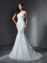 Sleeveless Floor Length Lace Mermaid Wedding Dress With Illusion Back