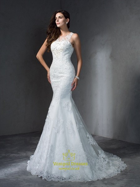 Sleeveless Floor Length Lace Mermaid Wedding Dress With Illusion Back