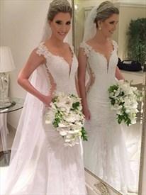 V Neck Cap Sleeve Cut Out Waist Mermaid Wedding Dress With Open Back