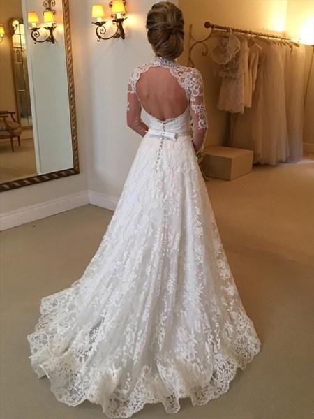 Illusion High-Neck Long Sleeve Lace A-Line Keyhole Back Wedding Dress