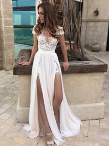 Illusion Neckline A-Line Lace Chiffon Beach Wedding Dress With Slits