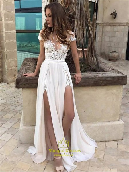 Illusion Neckline A-Line Lace Chiffon Beach Wedding Dress With Slits