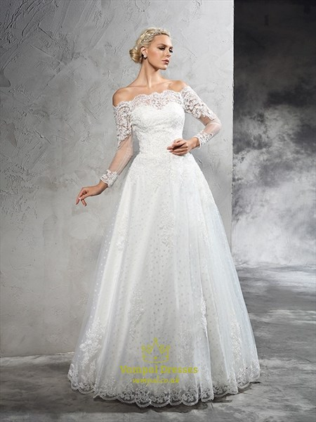 Off Shoulder A-Line Floor Length Lace Wedding Dress With Long Sleeves