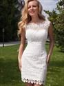 Short Sheath Keyhole Back Lace Wedding Dress With Detachable Train