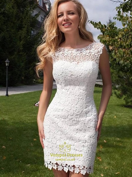 Short Sheath Keyhole Back Lace Wedding Dress With Detachable Train