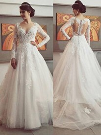 Illusion Long Sleeve A-Line Lace Applique Wedding Dress With Train