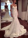 Spaghetti Strap Sweetheart Lace Mermaid Wedding Dress With Open Back