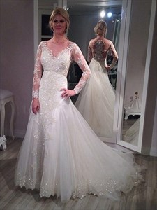 Illusion Neckline Long Sleeve Lace Applique Wedding Dress With Train