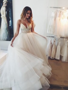 Spaghetti Strap V Neck Beaded Empire Waist Ball Gown Wedding Dress
