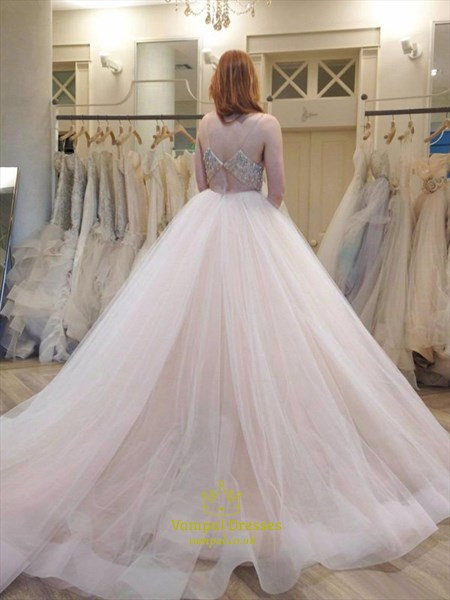 Spaghetti Strap V Neck Beaded Empire Waist Ball Gown Wedding Dress