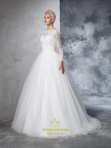 Elegant Illusion Long Sleeve A-Line Tulle Ball Gown Wedding Dress