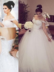 White Off Shoulder Lace Bodice A-Line Tulle Ball Gown Wedding Dress