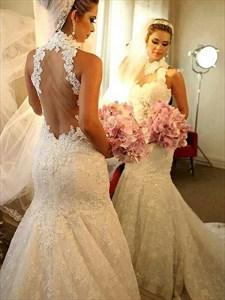Sleeveless High-Neck Sheer Back Mermaid Lace Wedding Dress With Train