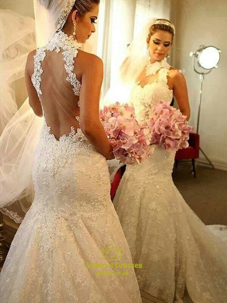 Sleeveless High-Neck Sheer Back Mermaid Lace Wedding Dress With Train