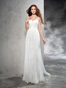Simple Elegant Sleeveless Lace Floor Length Wedding Dress With Train