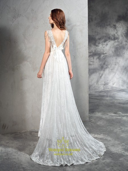 Simple Elegant Sleeveless Lace Floor Length Wedding Dress With Train