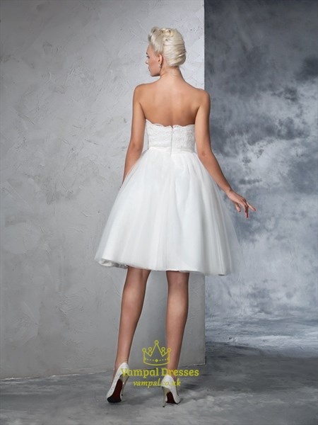 Lovely A-Line Strapless Sweetheart Knee Length Lace Top Wedding Dress