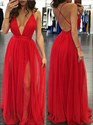 Red Deep V-Neck Spaghetti Strap Open Back A-Line Tulle Evening Dress