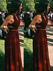 Burgundy Sleeveless Two-Piece Floor Length A-Line Chiffon Evening Gown